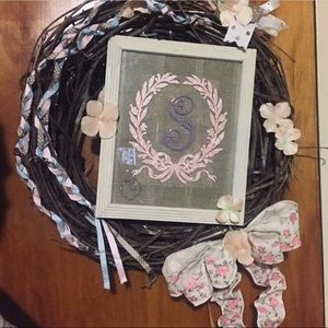 Rustic/ farmhouse wreath with bow and Accents